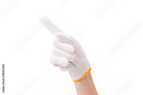 Fotografija  worker hand pointing up one finger, with cotton glove