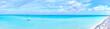 canvas print picture 真夏の宮古島 下地島の海と誘導灯(パノラマ)
