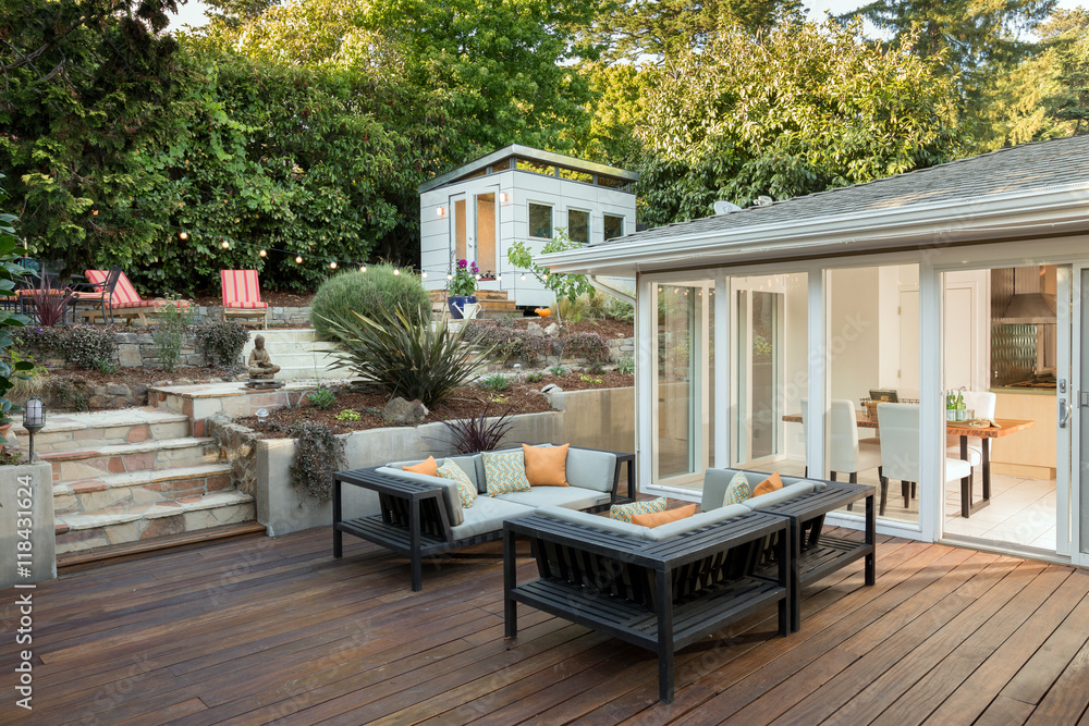 Fototapety, obrazy: Amazing wooden deck and furniture at private home.