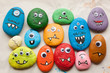 canvas print picture - Painted stone monsters craft