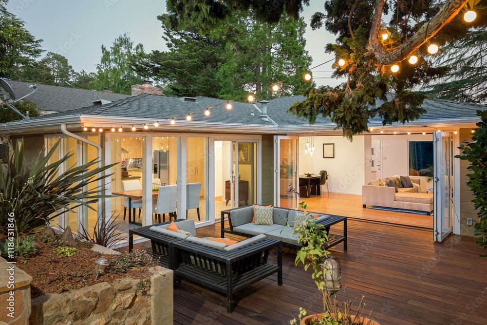 Fototapety, obrazy: Home with furniture patio / wooden deck at twilight.