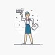 Outline business illustration of people profession stewardess