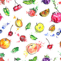Panel Szklany Owoce seamless pattern with hand drawn fruits