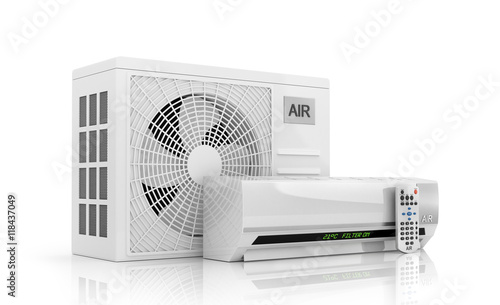Obraz na plátne  air conditioning isolated on white. 3d illustration