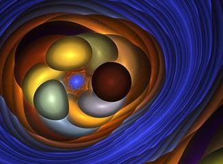 Obraz fractal colorful balloons blue frame