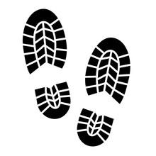Footprints Vector Icon. Trekking Boots.
