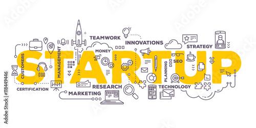 Fotografía  Vector creative illustration of business startup word lettering