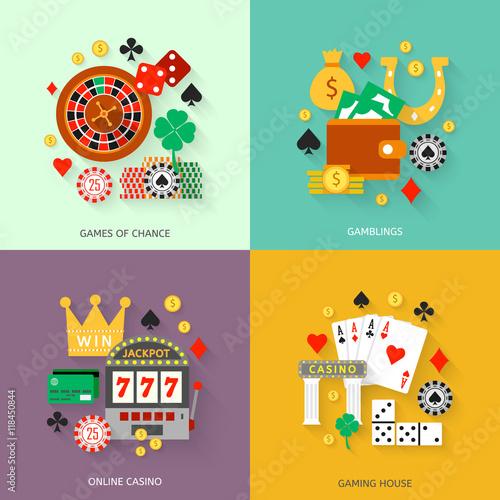 фотография  Gambling flat icons set