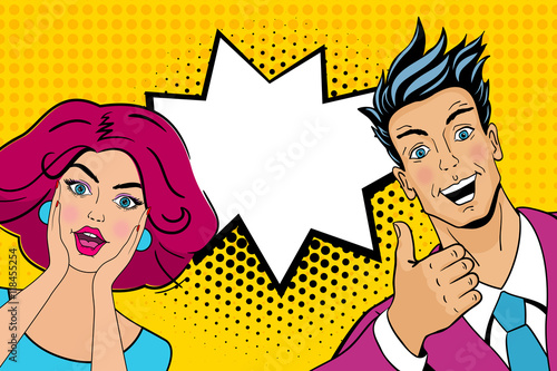 wow couple attractive surprised man and woman in pop art comic