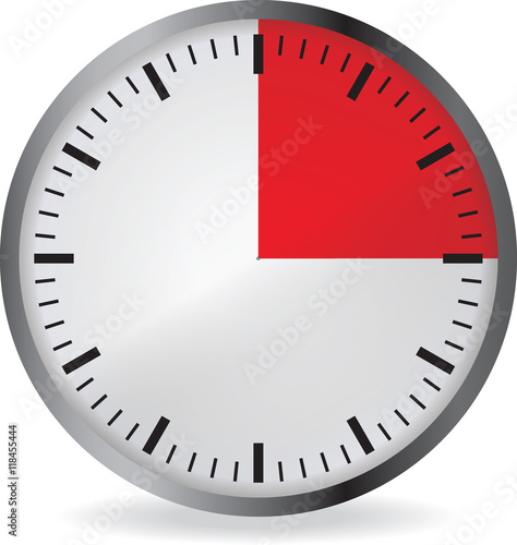 clock with red 15 minute deadline isolated on white background