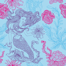 Mermaid, Marine Plants, Corals, Jellyfish And Seaweed. Vintage Seamless Pattern With Hand Drawn Marine Flora. Vector Illustration In Line Art Style.Design For Summer Beach, Decorations.