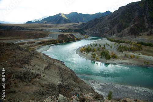 Poster Cote Autumn, Russia, Altai Mountains river Turquoise Katun
