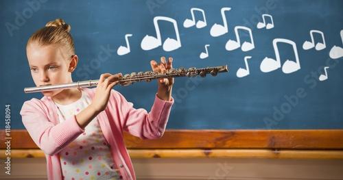Plakat Złożony wizerunek bawić się niemiec flet dziewczyna