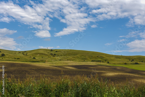 Foto op Aluminium Blauw beautiful landscape with grass on a hill