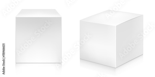 Photo  Paper white box mock-up template.