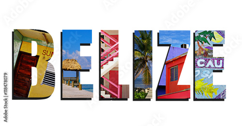 Belize collage on white Wallpaper Mural