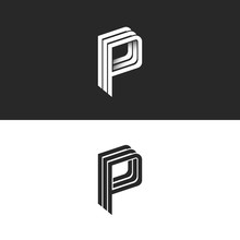 Letter P Logo Monogram, Isometric Geometric Shape Lines Initial Business Card Emblem, Black And White Combination Letters PPP