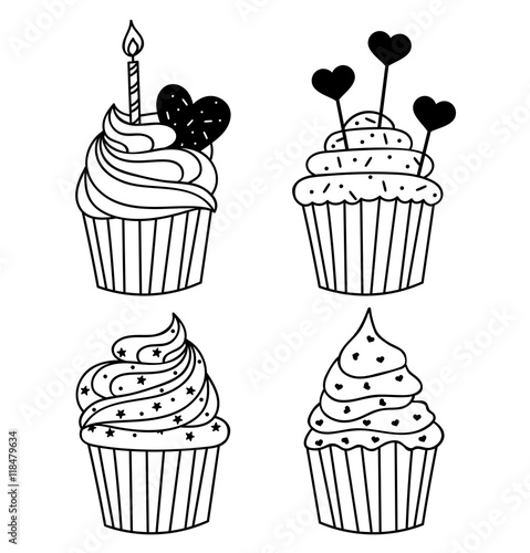 Hand Drawn Cakes Templates Template For Greeting Card Postcard Or Adult Coloring Book Sweet Cupcake With Birthday Candle Design Backdrop