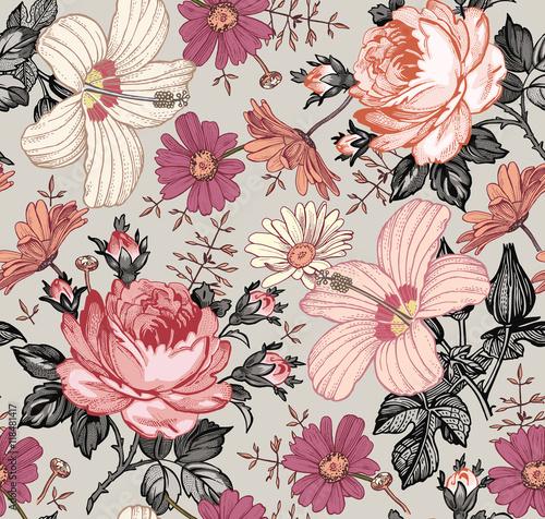 wzor-piekne-rozowe-kwitnace-realistyczne-pojedyncze-kwiaty-tlo-chamomile-rose-hibiscus-mallow-polne-kwiaty-tapeta-grawerowanie-rysunkowe-wektorowa-wiktorianski-ilustracja