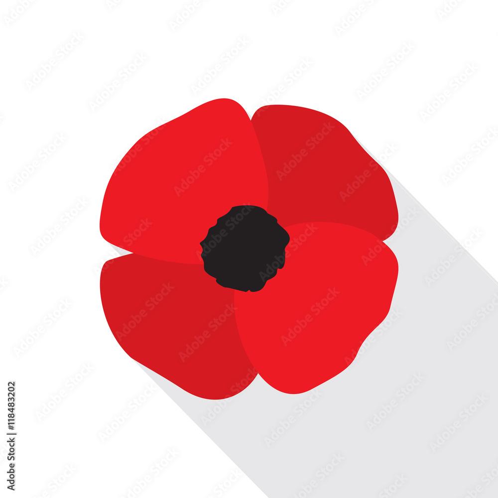Fototapety, obrazy: Red Poppy Flower Flat Icon