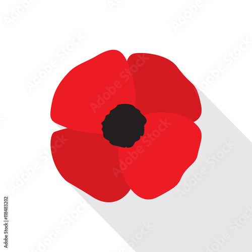 fototapeta na ścianę Red Poppy Flower Flat Icon