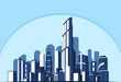 Vector illustration. Abstract blue background city of the future. Business and tourism concept with skyscrapers.