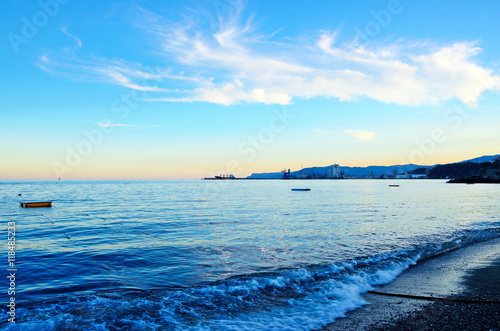 Photo  sunset over the sea in Albissola Savona Italy