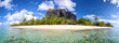 canvas print picture - Mauritius Island panorama with Le Morne Brabant mount