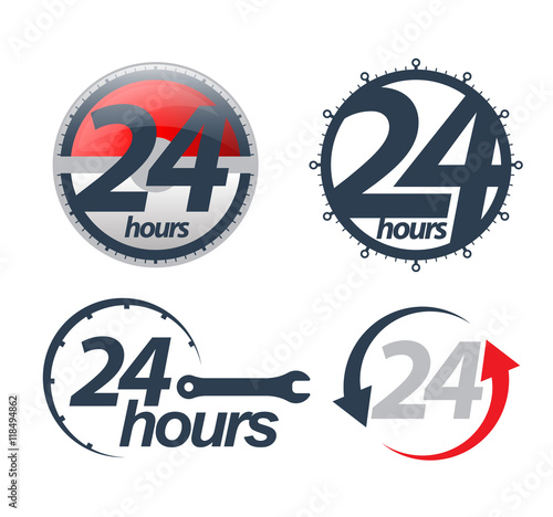 Fotografering  Vector 24 hours icons set. Vector illustration.
