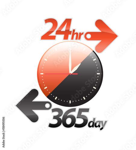 Fényképezés  Orange black 24hr 365 day arrow, round the clock service sticker, icon, label, banner, sign isolated on white