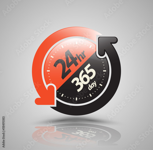 Fotografia  24hr 365 day with two circle arrow icon. vector illustration.