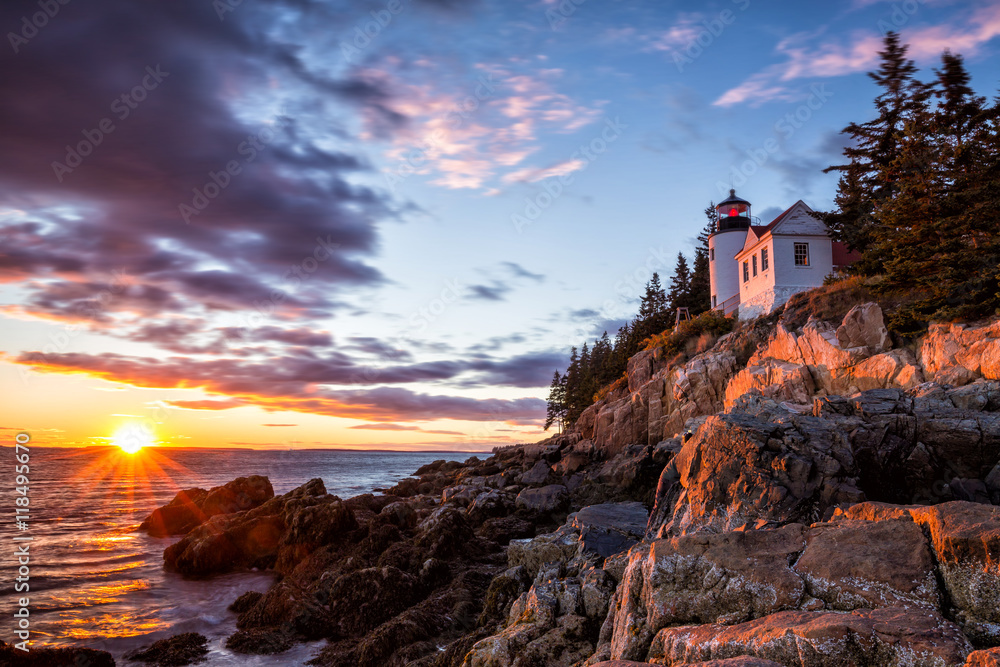 Fototapety, obrazy: Bass Harbor Lighthouse at sunset Acadia National Park