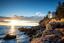 Bass Harbor Lighthouse At Sunset Acadia National Park