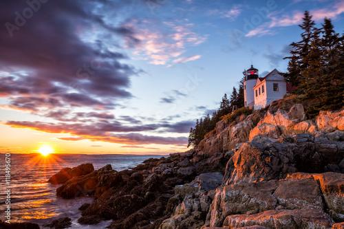 Bass Harbor Lighthouse at sunset Acadia National Park Wallpaper Mural