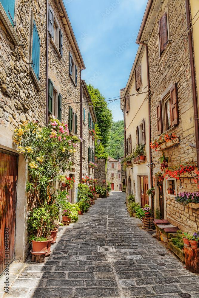 Fototapety, obrazy: Wąska brukowana ulica na starym mieście we Włoszech
