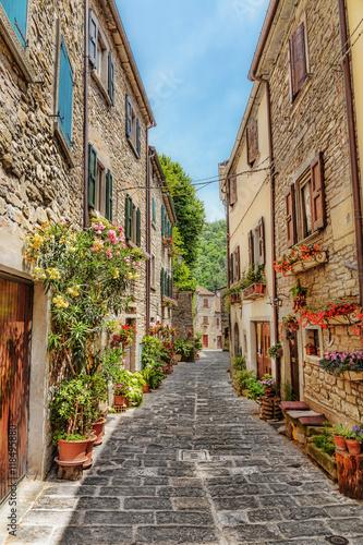 Obraz Wąska brukowana ulica na starym mieście we Włoszech - fototapety do salonu