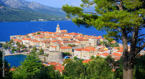 Vászonkép Korcula old town, Dalmatia coast, Croatia