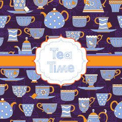 Naklejka Do kuchni Background with different teacups and teapots