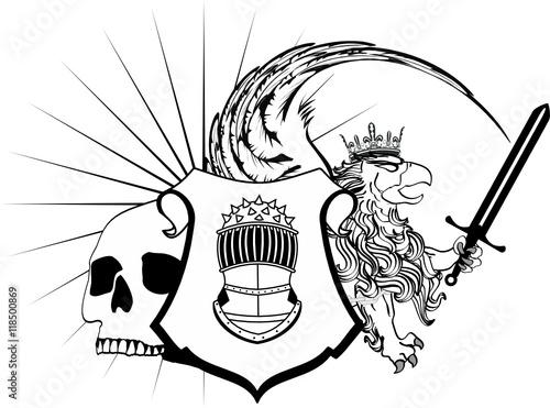 Poster de jardin Oiseaux en cage heraldic gryphon crest coat of arms tattoo very easy to edit