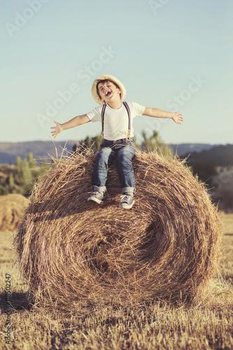 Fotografie, Obraz  niño feliz en el campo