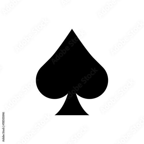 Fényképezés Playing card spade suit flat icon
