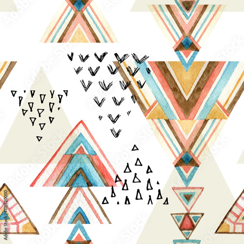 Photo sur Toile Empreintes Graphiques Abstract watercolor ethnic seamless pattern.