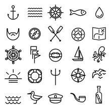 Nautical, Marine Line Icons Set