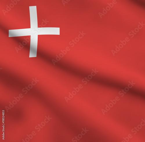 Fotografie, Obraz  Flag of Swiss Canton Schwyz