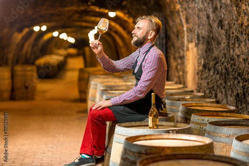 Fotografía  Handsome sommelier in apron and checkered shirt looking at wine glass sitting on the barrel in the old cellar