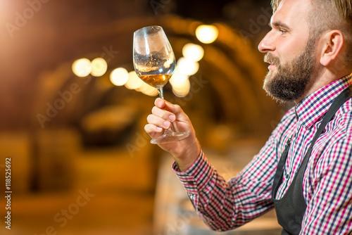 Cuadros en Lienzo  Apuesto sumiller rubio con barba mirando a la copa de vino en la antigua bodega