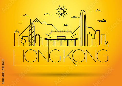 Photo  Minimal Vector Hong Kong City Linear Skyline with Typographic De