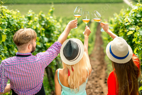 Fotografía  Young people looking at the wine glasses standing back on the vineyard during the wine degustation