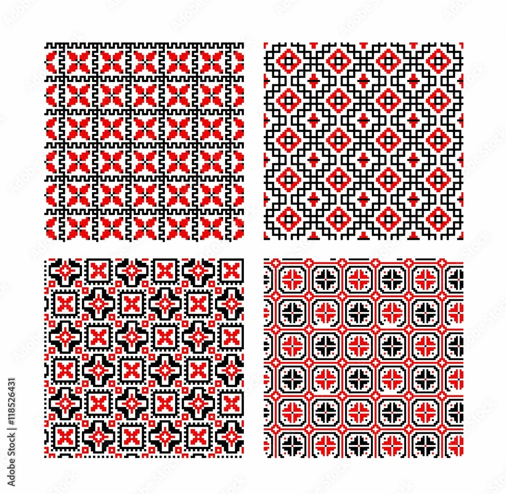 set of seamless background with ethnic patterns. seamless pattern in folk style.