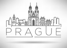 Minimal Vector Prague City Linear Skyline With Typographic Desig